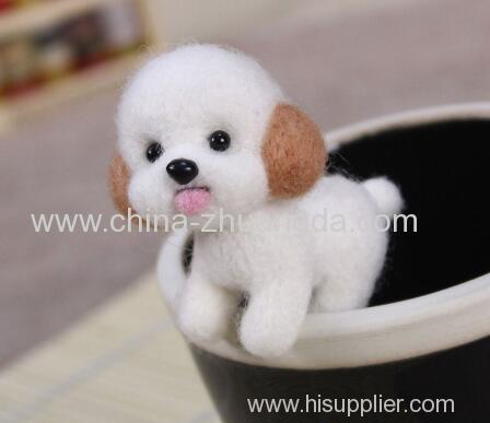 Fashion Women Summer Craft Handmade Lovely Dog Toy Doll Wool Felt Poked Kitting DIY Cute Animal Wool Felting Non-Finishe