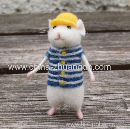 2019 Women Lovely Mice Mouse Handmade Animal Toy Doll Wool Needle Felt Poked Kitting DIY Wool Kits Package Non-Finished