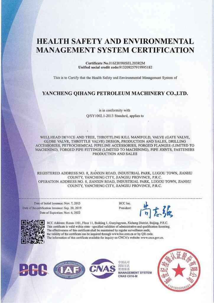 Q/SY1002.1-2013 Certificate