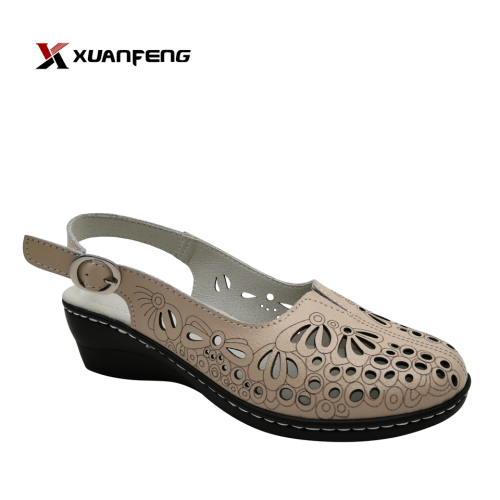 Latest Unique Custom Ladies Leather Sandals Low Heel Women Sandal Shoes