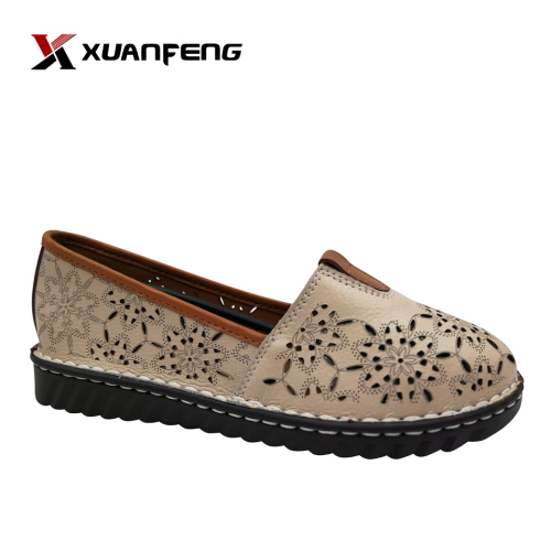 Design Comfortable Soft Flat Leather Shoes Ladies Fashion Casual Shoes