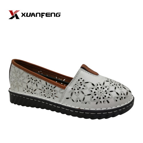 Custom Handmade Women's Leather Shoes Comfortable Wear Round Toe Summer Season