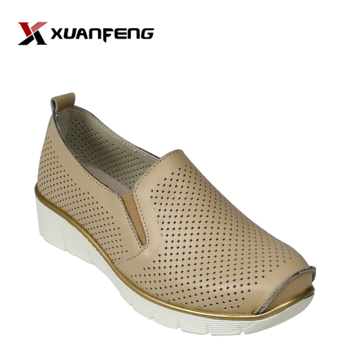 Quanzhou Factory Price Slip-on Loafer Shoe Fashion Ladies Leather Casual Shoes