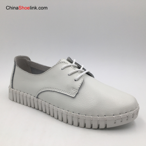 2020 Female White Flat Shoes School Girl Ladies Women Genuine Leather Dress Shoes