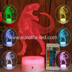 Led Acrylic Dinosaur 3D Colours Promiscuous Kids Gift Room Decration Night Light