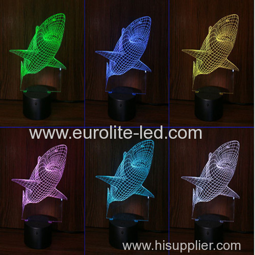 Led Acrylic Shark 3D Colours Black Base Kids Gift Room Decration Night Light
