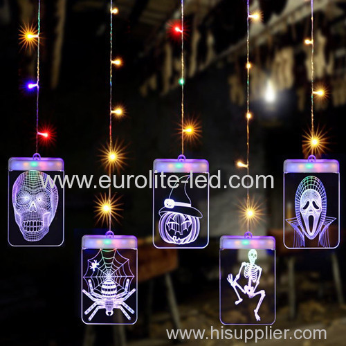 Led Acrylic 3D Solar Power Decoration Pendant Halloween Icicle Light