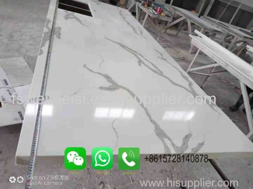 Foshan Weimeisi White Calacatta Quartz Slab for Kitchen Quartz Countertop