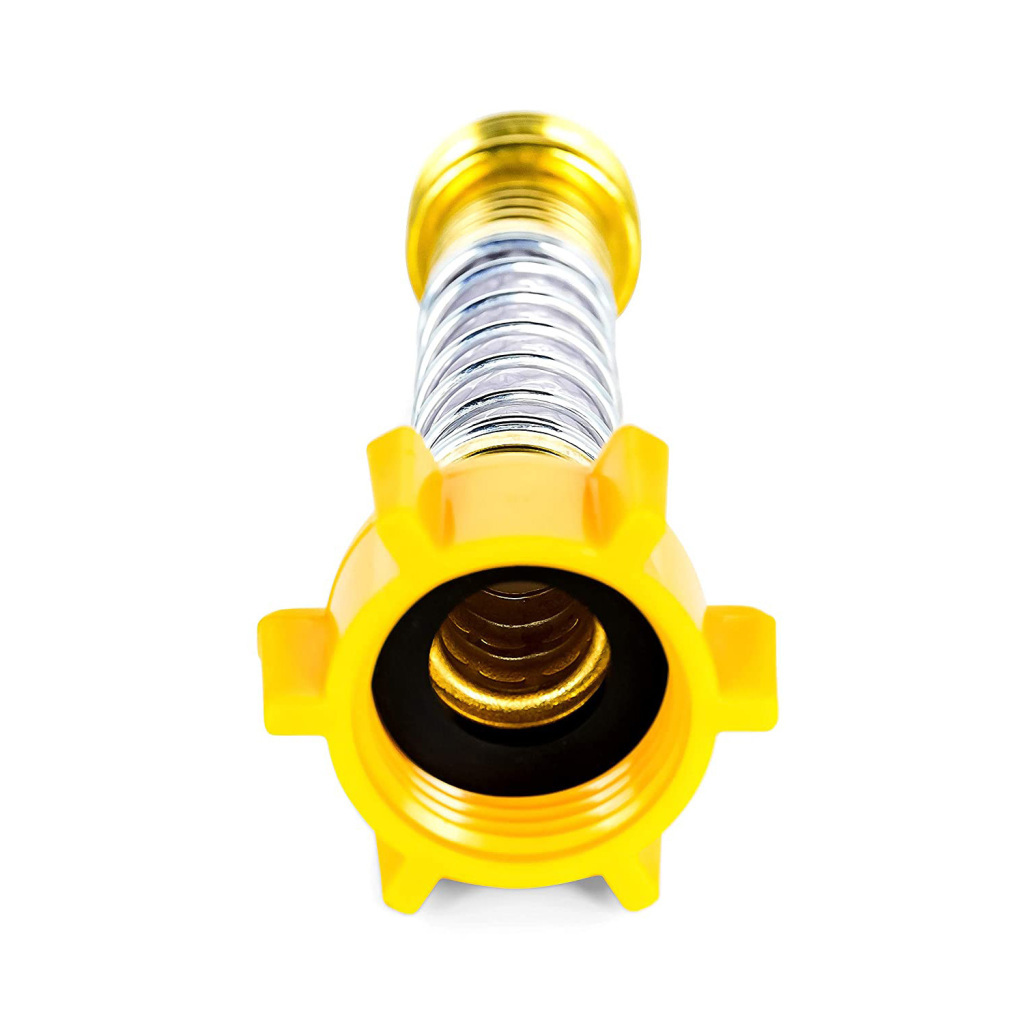 Kink free garden hose connector with steel spring