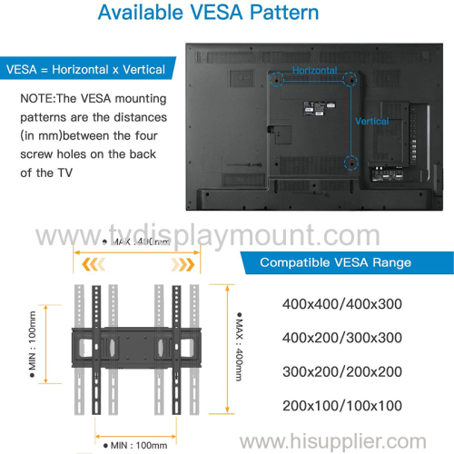 VESA 400x400 full motion swing arm tv wall mount vesa bracket