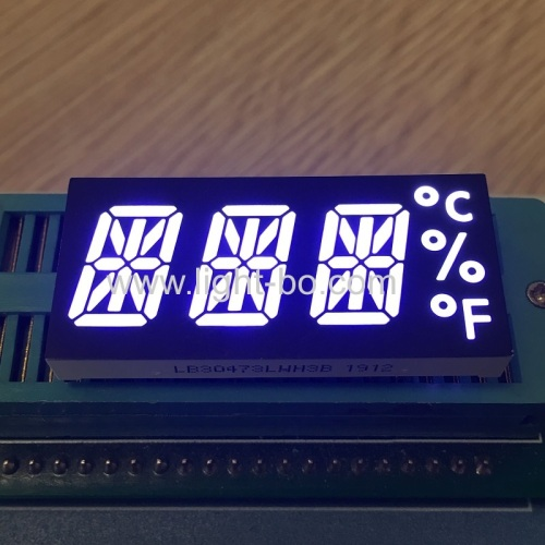 Ultra white Custom 3 Digit Alphanumeric LED Display common cathode for Temperature Controller