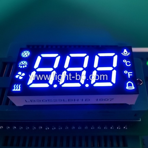 Customized Triple Digit common anode ultra blue 7 segment led display for refrigerator control