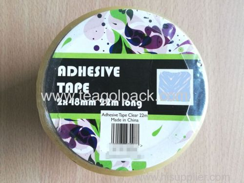 2 Pack Adhesive Packing Tape 48mmx22M Clear