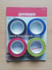 4Pc Adhesive PVC Tape Set Assted Color 0.13mmx19mmx10M