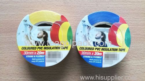 Coloured PVC Insulation Tape 30mmx20M Blue/Yellow