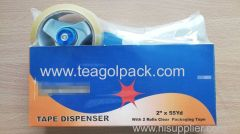 "Tape Dispenser With 2 Rolls Clear Packing Tape 2""x55Yd"