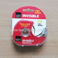 "Invisible Tape 18mmx21M (3/4""x825"")White with Clear Dispenser"