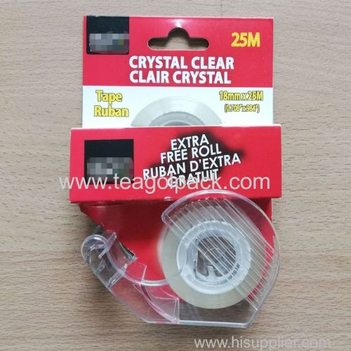 2 Pack Stationery Tape Crystal Clear 18mmx25M(0.708 x984 ) With Dispenser