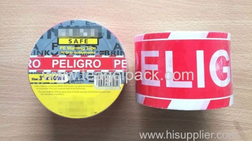Barrier Tape Red/White 3 x100M With White PELIGRO  Printed PE Nont-Adhesive Warning Tape