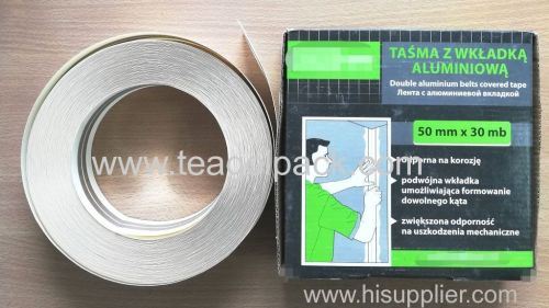 Double Aluminium Belts Covered Tape 50mmx30M Metal Corner Tape 50mmx30M