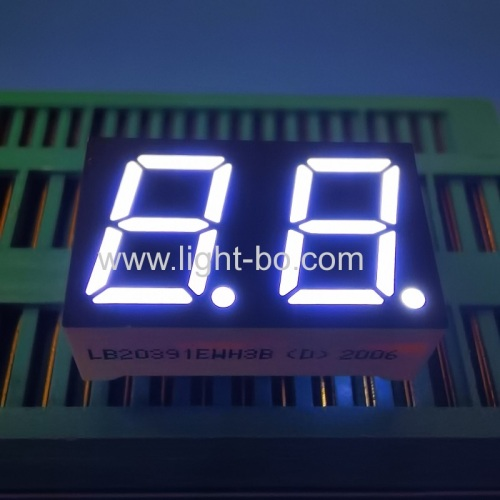 Ultra white 0.39inch Dual Digit 7 segment LED Display common cathode for instrument panel