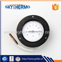 With plastic flange round dial industrial usage boiler remote reading capillary thermometer