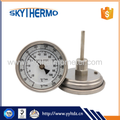 Full stainless steel Superior quality room temperature gauge boiler bimetal thermometer