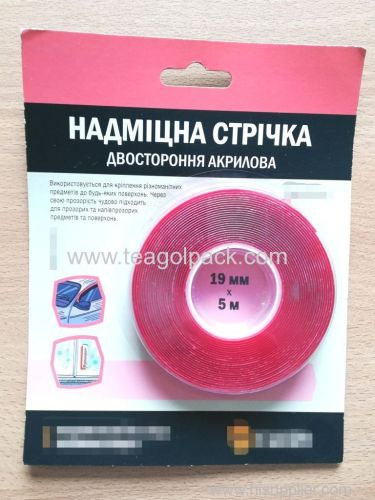 19mm Wx5m L Double Sided Acrylic Adhesive Tape ..Release Film: Red+Clear Acrylic Foam Based.