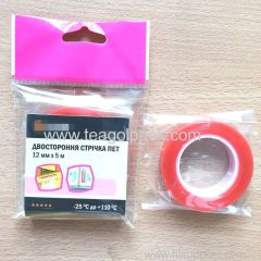 12mmx5M Double Sided PET Tape Release Film:Red+Clear PET Tape