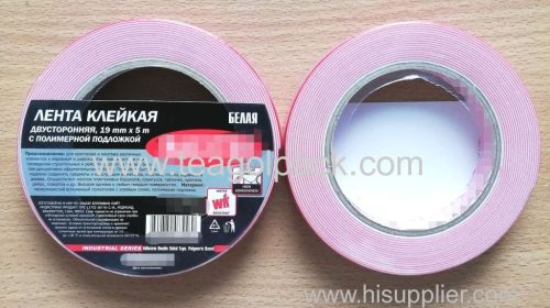 19mm Wx5m L Double Sided Adhesive Foam Tape ..Release Film: Red+White Foam Tape