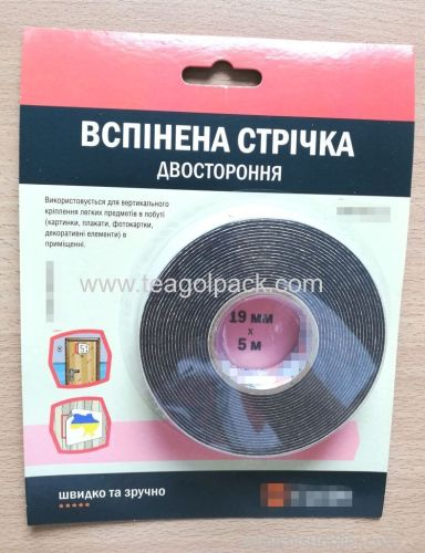 19mm Wx5m L Double Sided Adhesive Foam Tape ..Release Film: White+Black Foam Tape