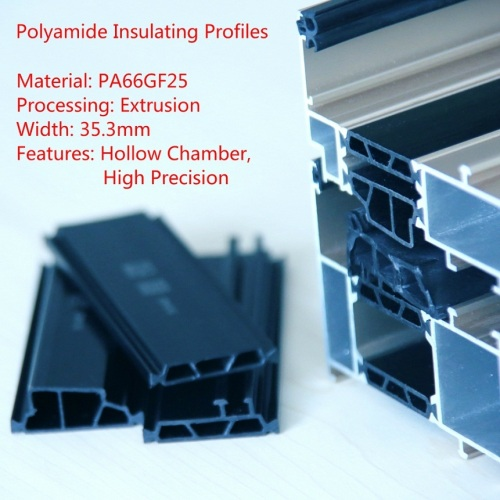 65mm PA66GF25 Hollow Chamber Thermal Break Polyamide Insulating Profiles