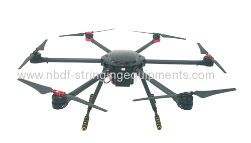 Drones for stringing power transmission line with 6 axles and camera