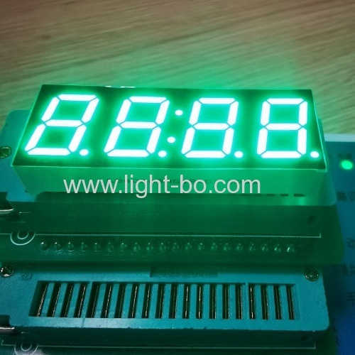 "4 Digit 0.56"" Pure Green 7 Segment LED Clock Display Common Anode for Instrument Panel"