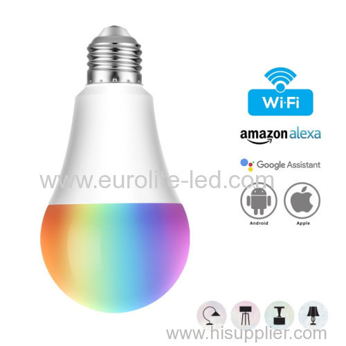 Smart Wireless Color-Changeable Bulb With Voice Control E27/E26/B22 Intelligent Indoor APP Control LED RGBW Dimming Lamp