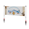 Outdoor advertising banner post with spike/twist banner stand