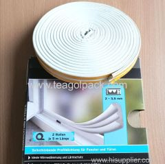 E-Profile Self-Adhesive Rubber Foam Seal Strip 10M(5mx2rolls)L White.