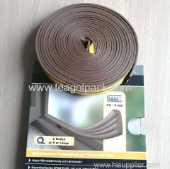 W-Profile Self-Adhesive Rubber Foam Seal Strip 10M(5mx2rolls)L Brown. EPDM-Profile