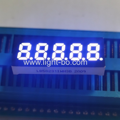 Ultra white small size 5 Digit 6mm 7 Segment LED Display common anode for Instrument Panel