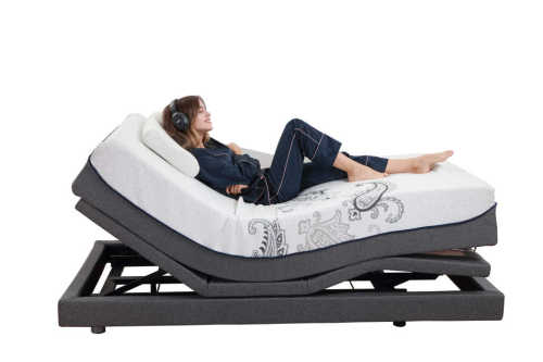 Adjustable bed with air massage mattress and speaker