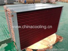 copper aluminum fin condenser evaporator coil with distributor lines and heater