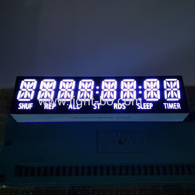 Customized ultra white 8 Digit 14 Segment Alphanumeric LED Display common cathode for speaker/audio