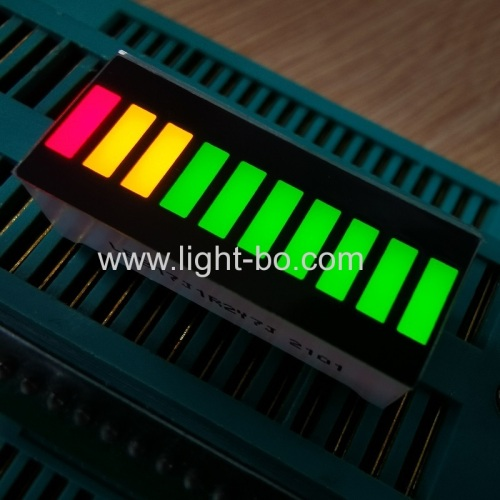 Super Bright Multicolour Green/Yellow/Red 10 Segment LED Light Bar For Instrument Panel