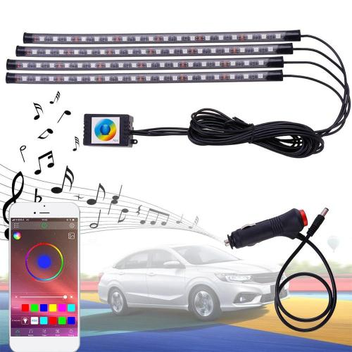 Car Interior Light RGB LED Decorative Light Strip With USB Wireless Remote Music Control Multiple Modes Car Foot Light