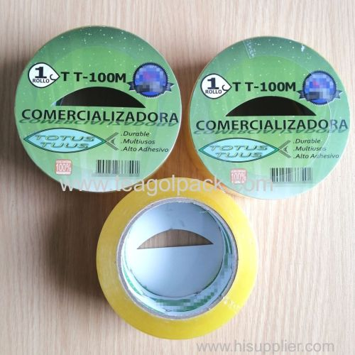 48mmx100M BOPP Packing Tape Transparent Yellow