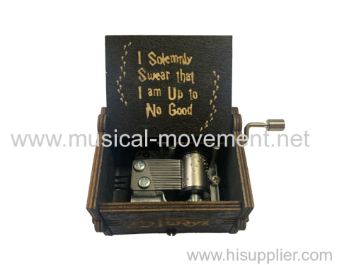 WOOD CARVING MUSIC BOX HAND CRANKED