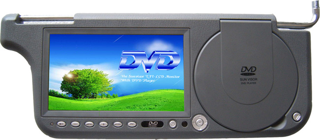 7inch Sun visor DVD monitor with FM transmitter with USB with SD