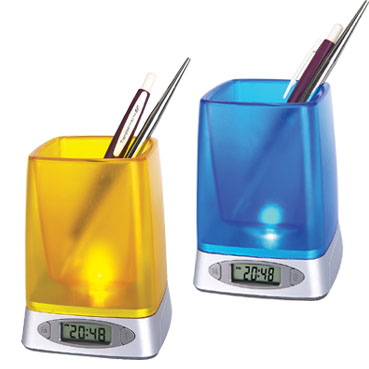 Pen Holder with LCD Clock & Night Light