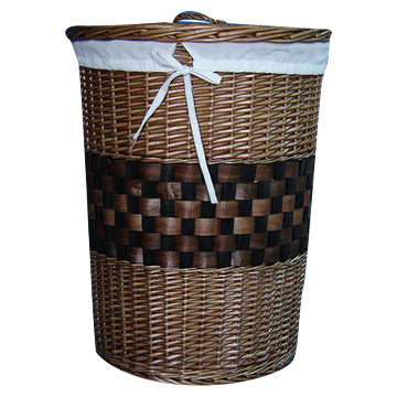 Brown Willow Laundry Basket (S-3)