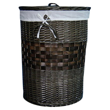 Dark Brown Willow Laundry Basket (S-3)